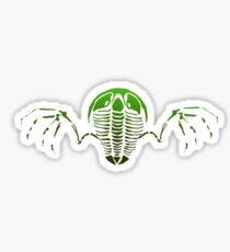 Flying Trilobite Fossil green Sticker