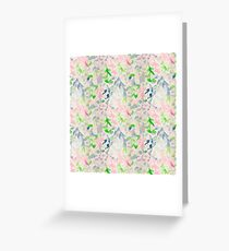 water color,abstract,flowers,floral,spring colours,hand painted, pink,green,beige,blue,modern,trendy Greeting Card