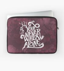 You Never Walk Alone - BTS - White Text (AESTHETIC on Pink) Laptop Sleeve