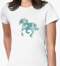 Horse Silhouette flowers Womens Fitted T-Shirt
