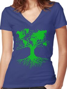 Earth Tree Root Women's Fitted V-Neck T-Shirt