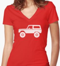 Lifted off-road 4x4 for Ford Bronco (1966-1977) offroad classic car enthusiasts Women's Fitted V-Neck T-Shirt