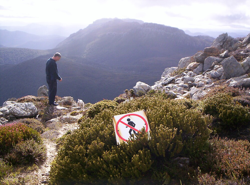 ignoring the sign!!   on Mt Read, Rosebery, with Mt Murchison centre background, Tasmania by gaylene