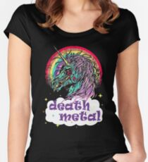 Zombie Unicorn Death Metal Women's Fitted Scoop T-Shirt