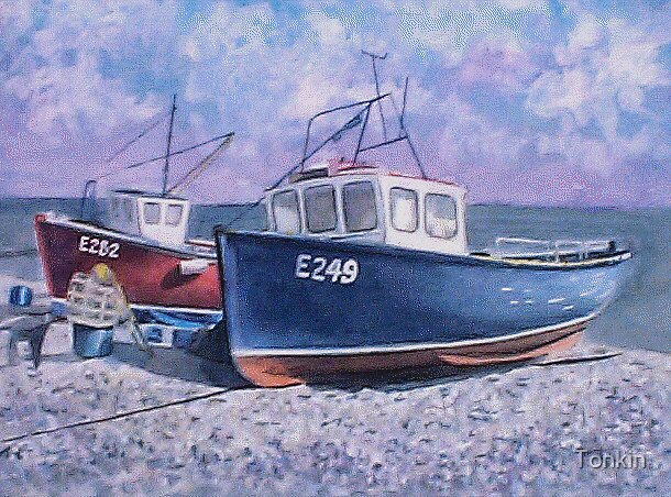 Boats at Beer, Devon by Tonkin