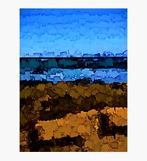 Gold Grass and Blue Sea under the Blue Sky Photographic Print
