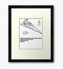 Trek and Wars race in space Framed Print