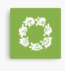 Roses Wreath - Greenery -  Pantone Color of the Year 2017 Canvas Print