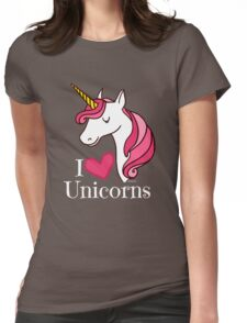 I Love Unicorns T Shirt - Heart Tee in Black Womens Fitted T-Shirt