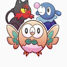 Rowlet, Litten, and Popplio by Elisecv