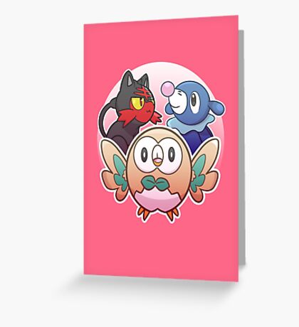 Rowlet, Litten, and Popplio Greeting Card