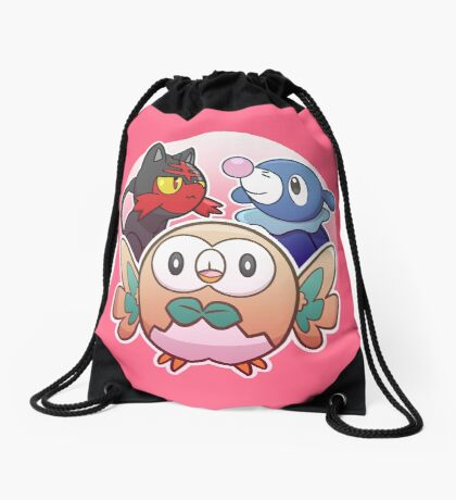 Rowlet, Litten, and Popplio Drawstring Bag