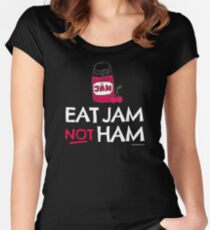 "Vegan T-Shirt ""Eat Jam Not Ham"" for Vegans & Vegetarians Women's Fitted Scoop T-Shirt"