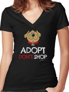 Pet adoption T-shirt (Adopt Don't Shop - Dog) Women's Fitted V-Neck T-Shirt