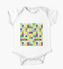 Colourful check rainbow colours patchwork pattern watercolour painting Kids Clothes