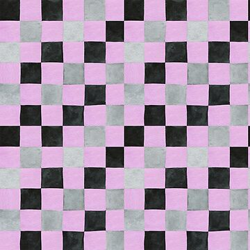 Colourful check pink, black and grey colours patchwork pattern watercolour painting by Mindreader