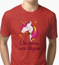 Unicorn TShirt - Unicorns are Vegan (Magenta) Tri-blend T-Shirt