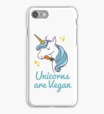 Unicorn TShirt - Unicorns are Vegan (Blue) iPhone Case/Skin