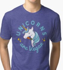 Unicorn TShirt - Unicorns are Vegan (Magic Blue) Tri-blend T-Shirt