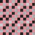 Colourful check pale red, black and grey colours patchwork pattern watercolour painting by Sandra O'Connor