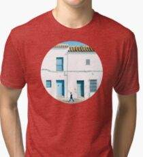 White and blue town Tri-blend T-Shirt