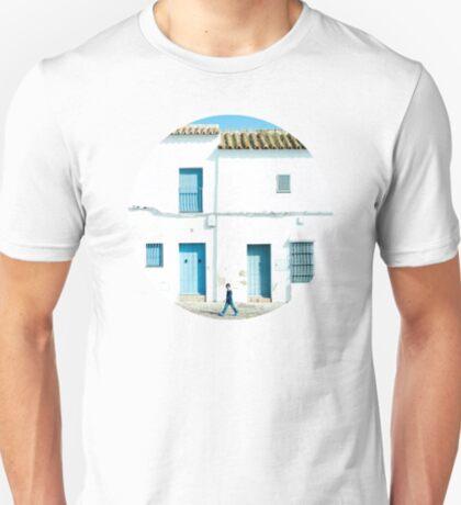 Weiße und blaue Stadt T-Shirt
