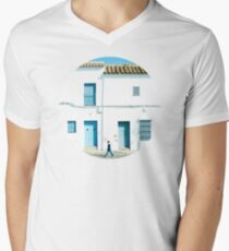 White and blue town Men's V-Neck T-Shirt