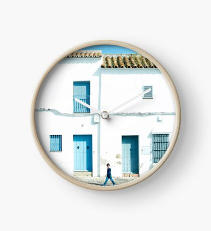 White and blue town Clock