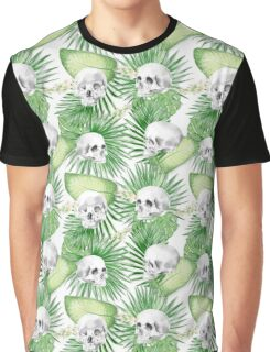 Watercolor Skull With Exotic Leaves Pattern Graphic T-Shirt