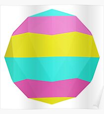 Pastel Colors Icosahedron Poster