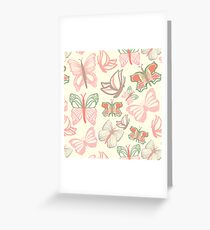 Vector pattern with butterflies in watercolor Greeting Card