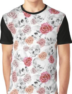 Watercolor Skull With Flowers Pattern Graphic T-Shirt