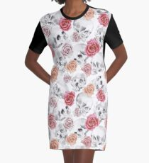 Watercolor Skull With Flowers Pattern Graphic T-Shirt Dress