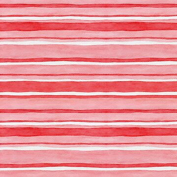 Pretty stripes in red, pink and white, watercolour painting by Mindreader