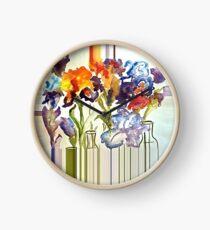 Irises in flower show Clock