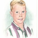 5th-grade boy w/background watercolor by Mike Theuer