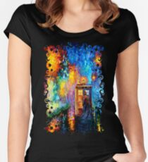 Mysterious Man at beautiful Rainbow Place Women's Fitted Scoop T-Shirt