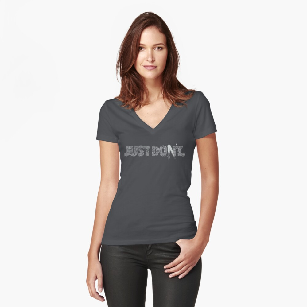 six questions, one answer Women's Fitted V-Neck T-Shirt Front