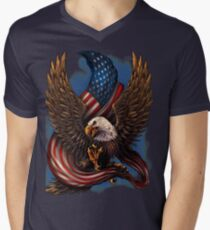 American Eagle and Flag V-Neck T-Shirt
