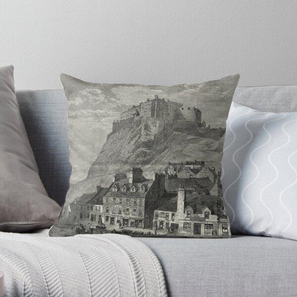 Edinburgh Castle Old Engraving 1860 Throw Pillow