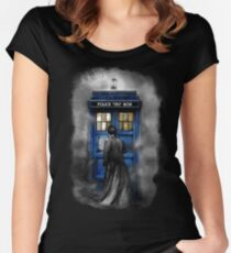 Mysterious man in the mist Women's Fitted Scoop T-Shirt