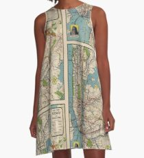 Vintage NYC Subway Map A-Line Dress
