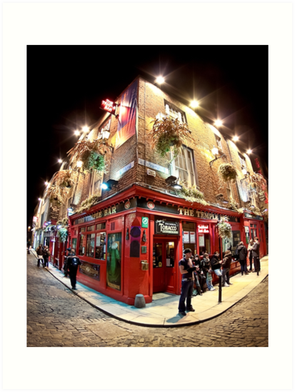 Bright Lights Outside Temple Bar  - Dublin Ireland at Night by Mark Tisdale