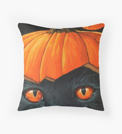 Bats in the Belfry? - halloween painting Throw Pillow