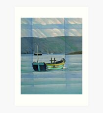 Green Boat on the Dart near Dittisham Art Print