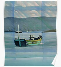Green Boat on the Dart near Dittisham Poster