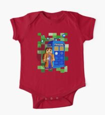Cute 8bit time traveller with the phone box Kids Clothes