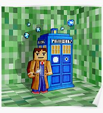 Cute 8bit time traveller with the phone box Poster