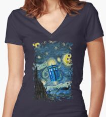 Flying British Phone Box Women's Fitted V-Neck T-Shirt