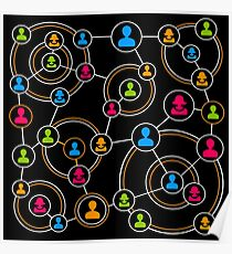 colorful people network circles Poster